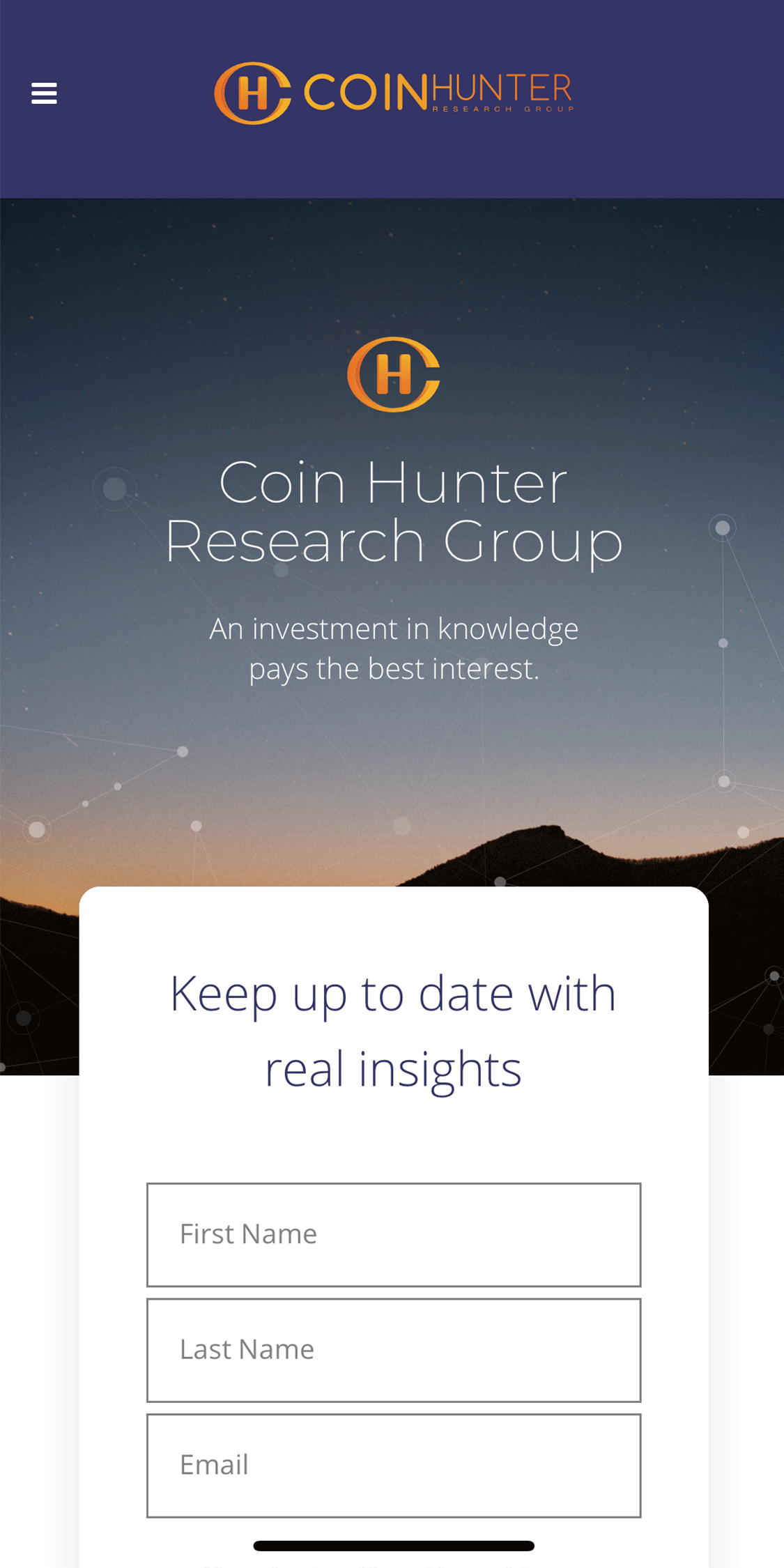 Coin Hunter Research Group Mobile Website Design