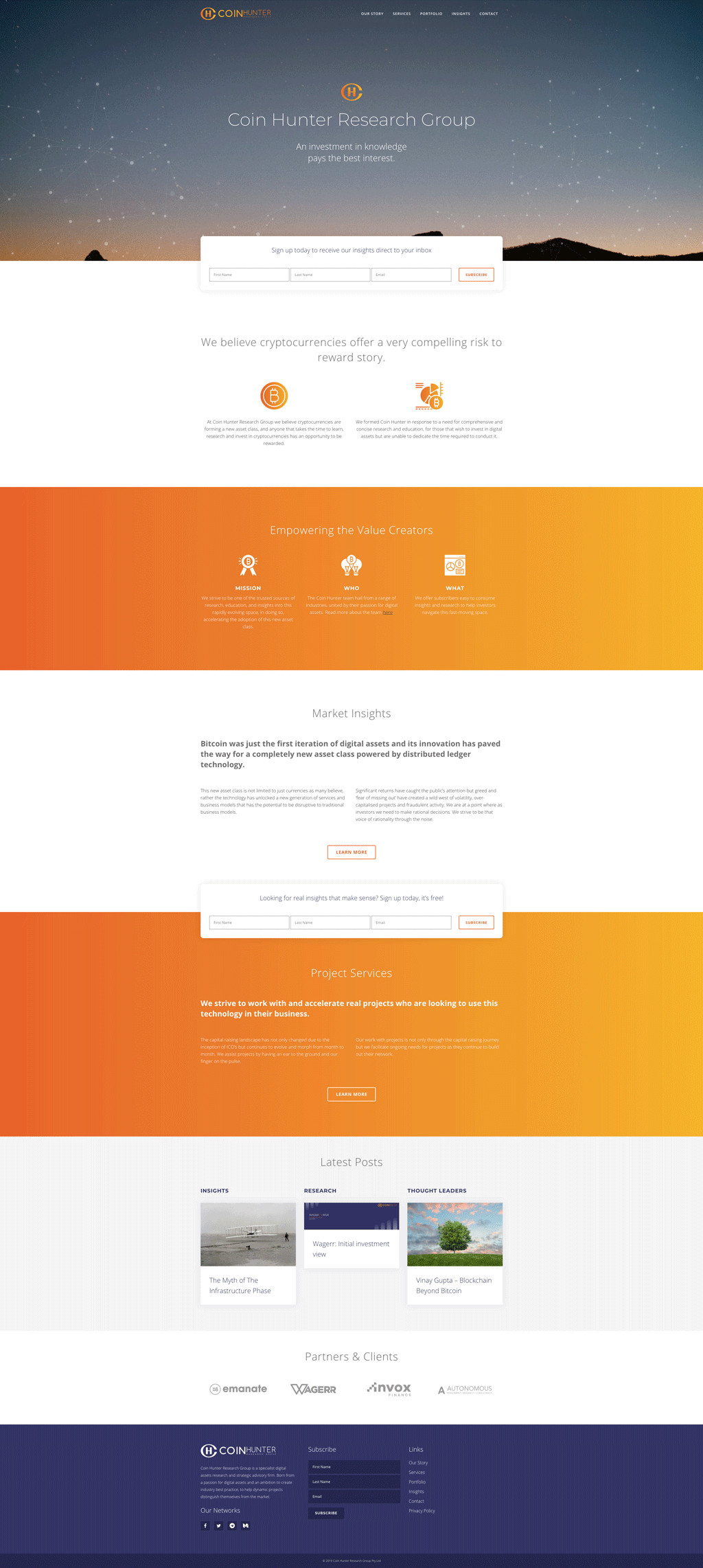 Coin Hunter Research Group Website Design