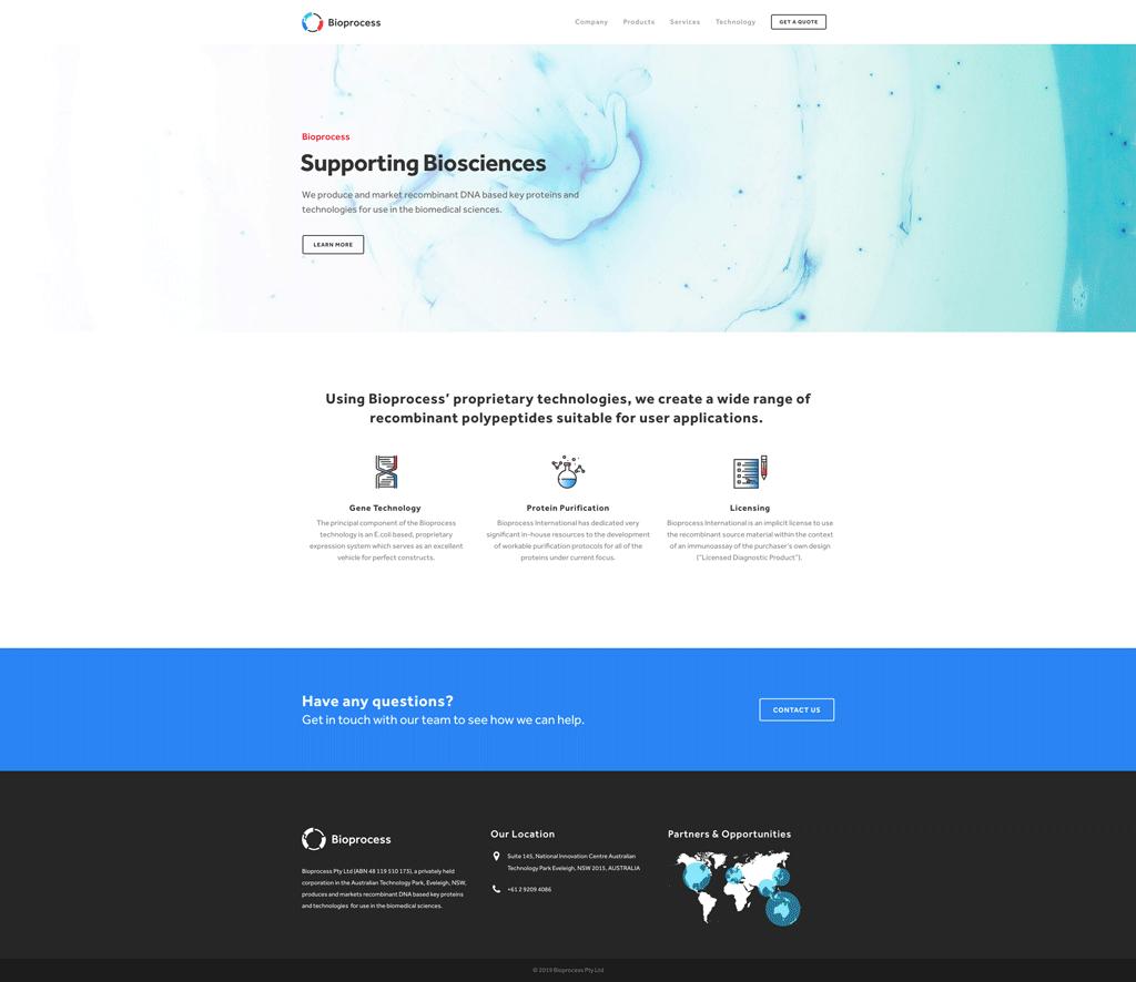 Bioprocess Website Design