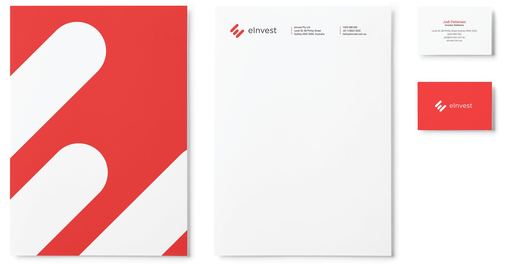 eInvest Stationery Design